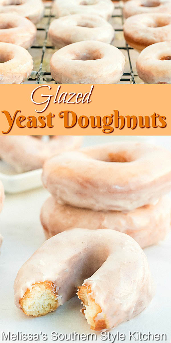 There's nothing like whipping-up a batch of homemade Glazed Yeast Doughnuts. Enjoy them for breakfast, brunch or dessert, anytime of day. #glazeddoughnuts #homemadeyeastdoughnuts #bestdonutrecipes #copycatkrispykreme #yeastdoughnuts #bestglazeddoughnuts #brunch #breakfast #desserts #dessertfoodrecipes #donuts #doughnuts #southernfood #southernrecipes