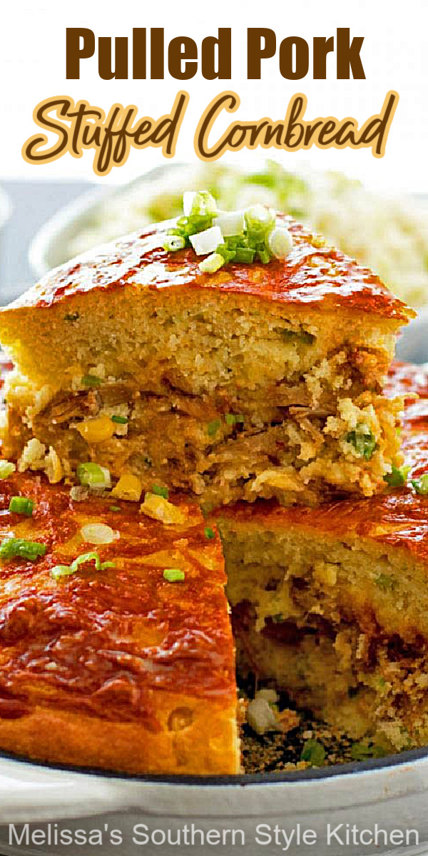 Serve this Pulled Pork Stuffed Cornbread alongside, soups, stews or a bowl of pinto beans #cornbread #pulledporkcornbread #southerncornbreadrecipes #pulledporkrecipes #pork #skilletcornbread #cornbreadrecipes #sidedish #dinner #dinnerideas #bbqpork #southernfood #southernrecipes