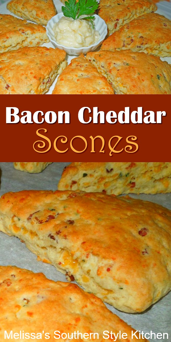 Slather these Savory Bacon and Cheddar Scones with homemade pineapple butter for a spectacular breakfast, brunch or tea time treat. #scones #cheesescones #baconcheddarscones #southernfood #southernrecipes #holidaybrunch #breakfast #holidaybaking #teatime #teaparty #biscuits #cheesebiscuits #bacon