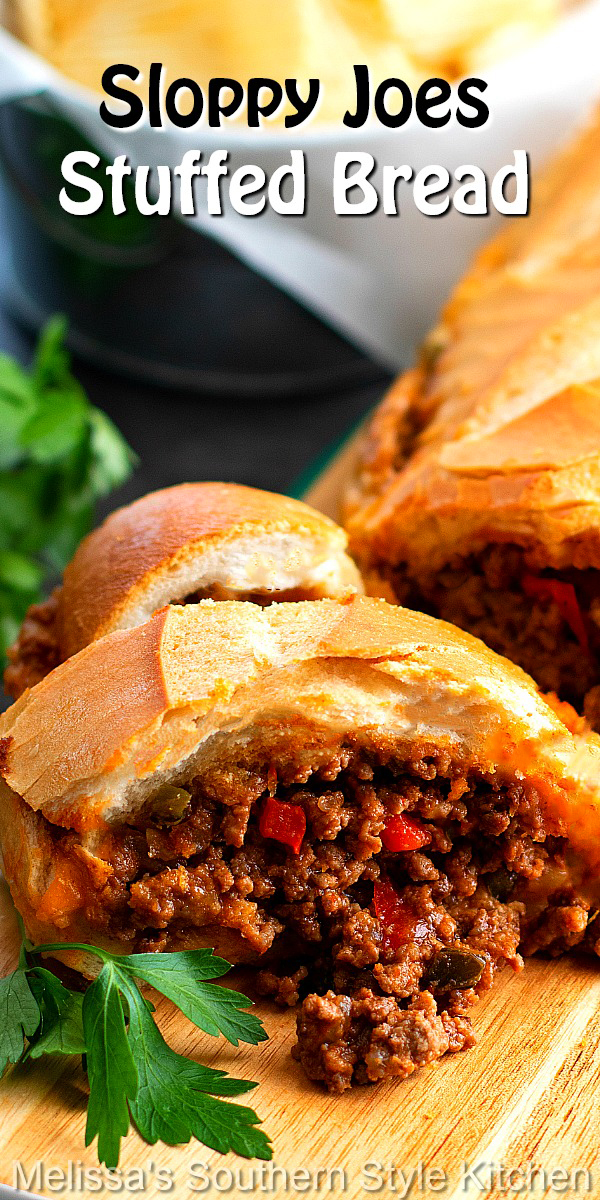 Skip the buns and make this family-style Sloppy Joes Stuffed Bread, instead. Add a side of chips and it's dinner-time in no time flat.#sloppyjoes #sloppyjoesstuffedbread #stuffedbreadrecipes #easygroundbeefrecipes #bestsloppyjoes #dinner #dinnerideas #southernfood #southernrecipes