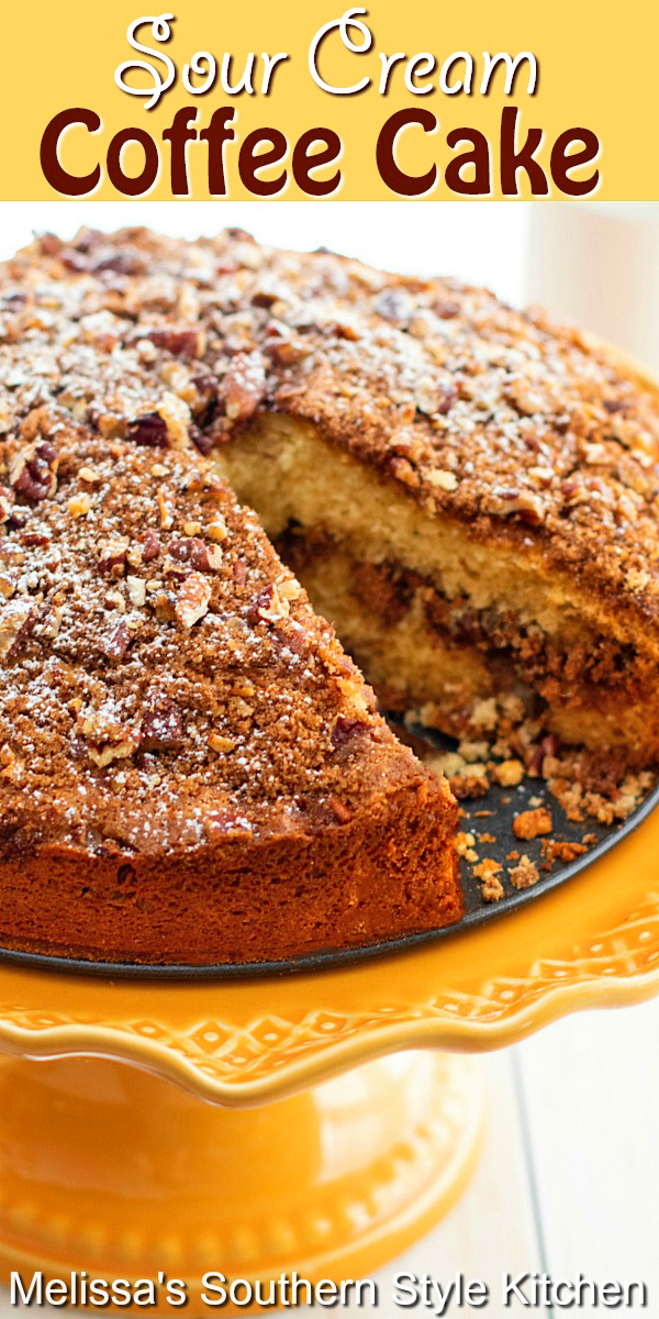 This Sour Cream Coffee Cake is the perfect excuse to have cake for breakfast! #coffeecake #sourcreamcoffeecake #cakerecipes #breakfast #brunch #southernfood #southernrecipes #desserts #dessertfoodrecipes