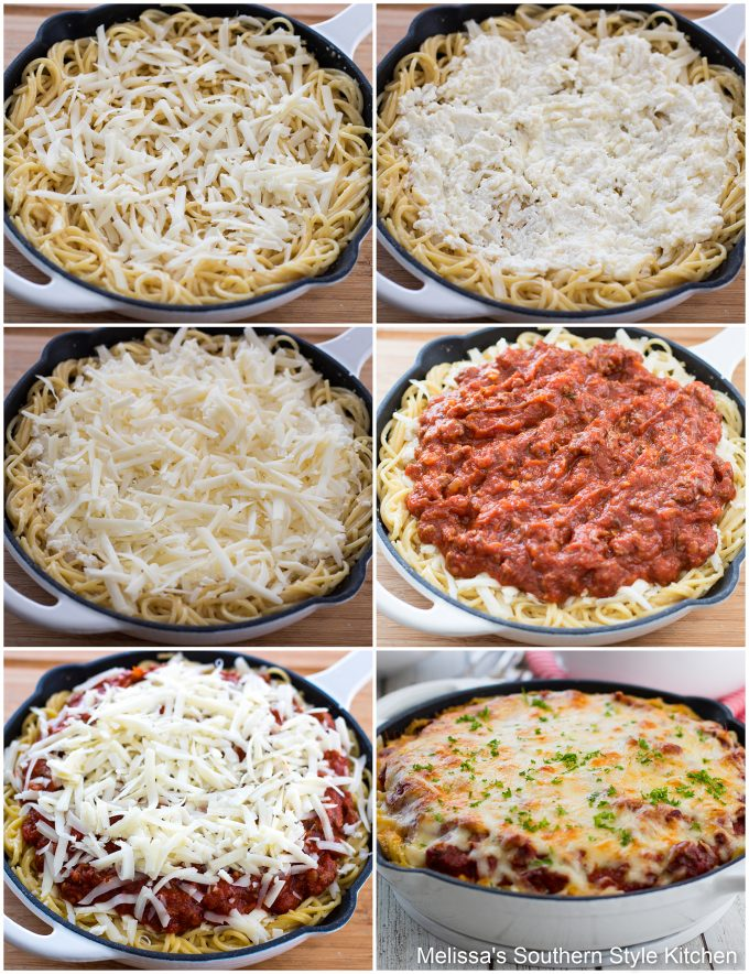 pasta, cheese and step-by-step images for preparing spaghetti pie
