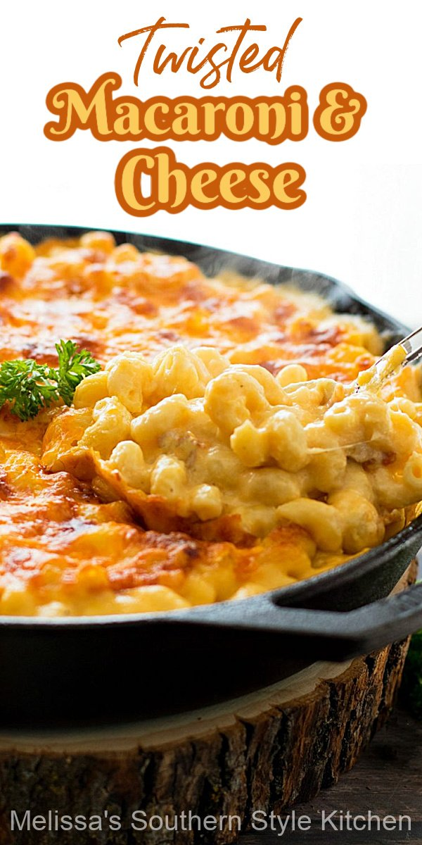 This made-from-scratch Twisted Macaroni and Cheese features a blend of three varieties of cheese making it an ooey gooey extravaganza #macaroniandcheese #twistedmacaroniandcheese #twistedmacaroni #macaroniandcheeserecipes #twistedmacandcheese #sidedishrecipes #pasta #sidedishrecipes #southernfood #southernrecipes #holidayrecipes #dinner #dinnerideas