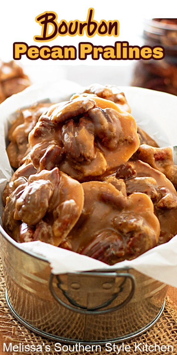 These Bourbon Pecan Pralines are indulgent, and certain to earn a spot on your short list of special occasion sweets #pecanpralines #southernpralinesrecipe #bourbonpecanpralines #pralines #candyrecipes #pecans #southernrecipes #christmascandy #mardisgras