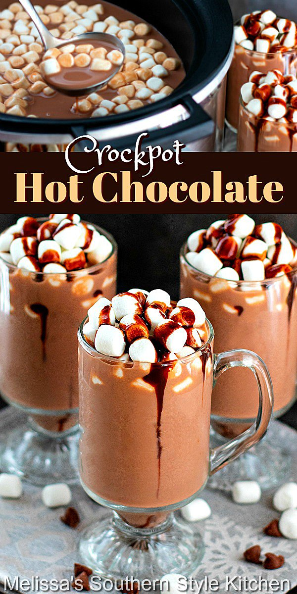 Enjoy a steamy cup of this Crockpot Hot Chocolate for a chilly day sweetfix #hotchocolate #crockpothotchocolate #slowcookerhotchocolate #hotcocoarecipes #chocolaterecipes #drinks #southernecipes