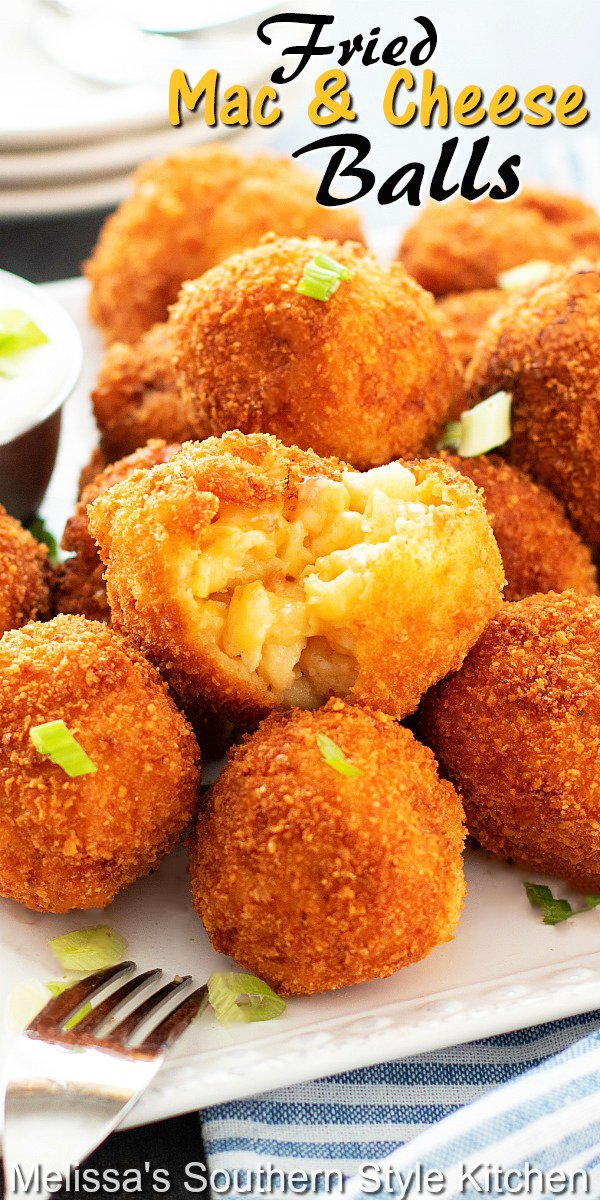 Fried Mac and Cheese Balls are a restaurant favorite you can make even better at home #friedmacandcheeseballs #macandcheesee #macaroniandcheese #pasta #appetizers #macandcheesebites #gamedayfood #southernmacaroniandcheese #southernfood #southernrecipes