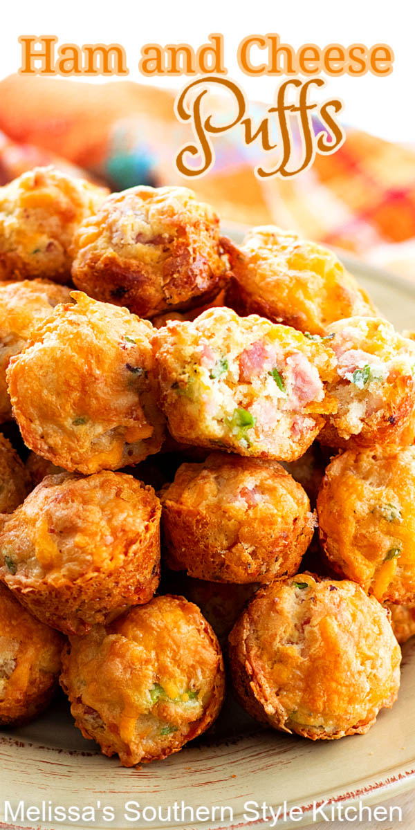These mini two-bite Ham and Cheese Puffs are guaranteed to be devoured #hamandcheesepuffs #hambites #appetizerrecipes #leftoverhamrecipes #ham #gamedayrecipes #minimuffins #puffs #holidayrecipes #southernfood #southernrecipes #snackrecipes