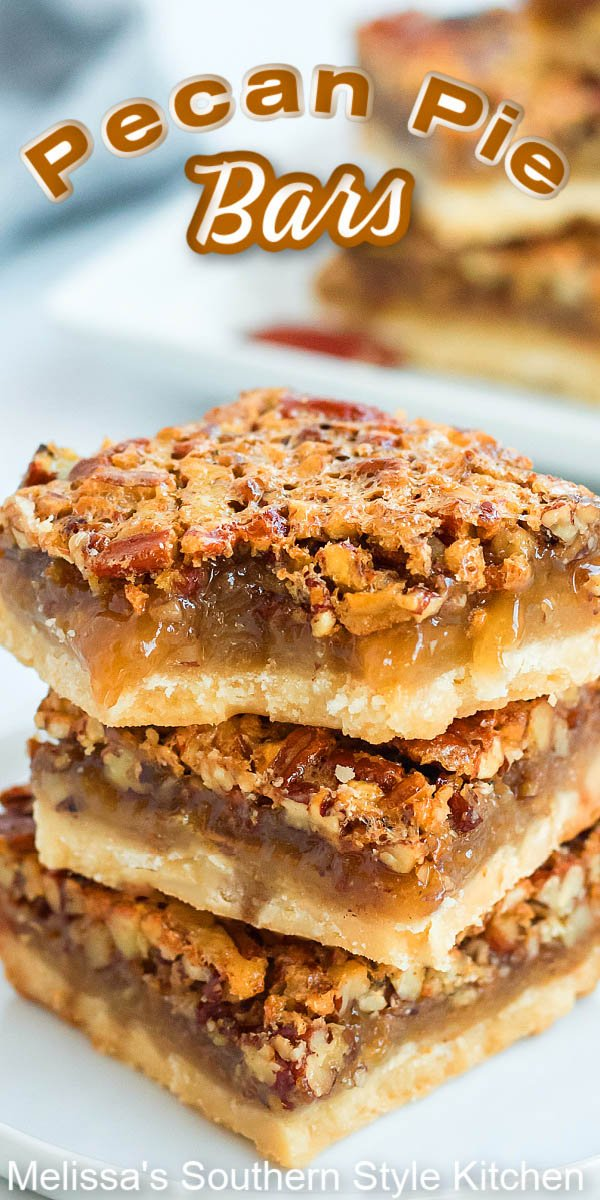These gooey Pecan Pie Bars are decadent to the very last gooey bite #pecanpie #pecanpiebars #pecans #cookiebars #holidaybaking #fallbaking #christmascookies #cookieswap #pecanpie #southernfood #southernrecipes