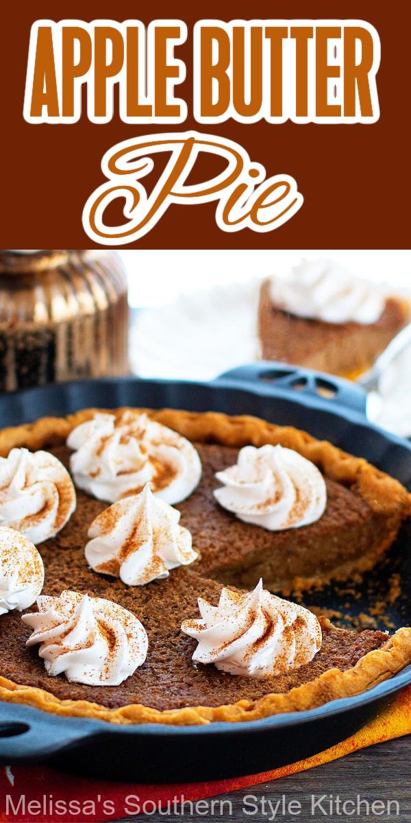 Treat yourself to a big piece of homemade Apple Butter Pie for dessert #applebutterpie #applebutter #applepie #pierecipes #harvestrecipes #fallbaking #pie #desserts #dessertfoodrecipes #southernfood #southernrecipes #thanksgivingdesserts