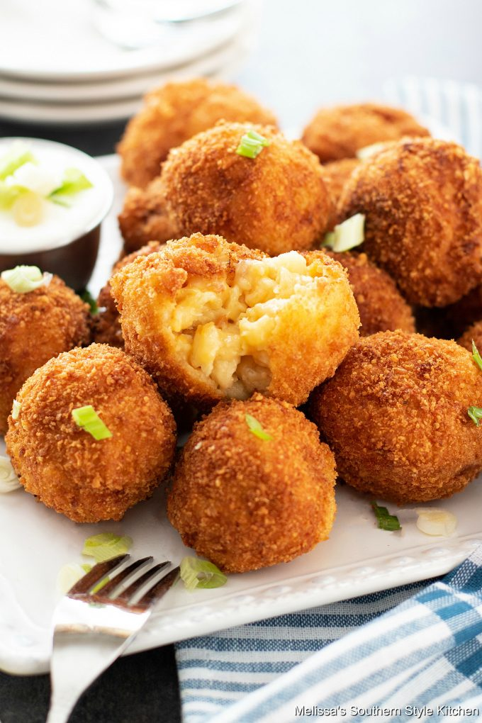 Fried Mac and Cheese Balls on a plate