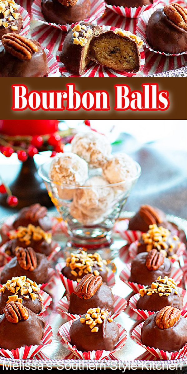 These scrumptious Bourbon Balls are a must-make this holiday season #bourbonballs #bourbonrecipes #kentuckybourbon #chocolate #christmasrecipes #pecanballs #desserts #dessertfoodrecipes #southernrecipes #southernfood