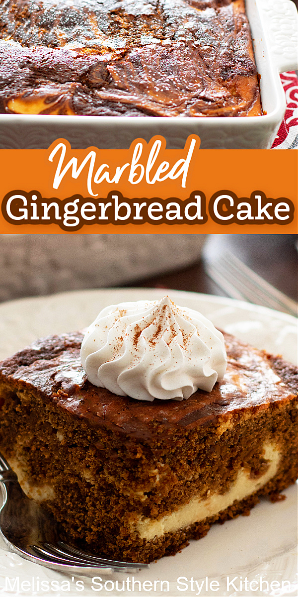 This Marbled Gingerbread Cake features a cheesecake-like swirl gives it a little something extra special to enjoy #gingerbread #gingerbreadcake #cakes #christmascakes #cakerecipes #gingerbreadrecipes #desserts #dessertfoodrecipes #southernfood #southernrecipes #holidaybaking