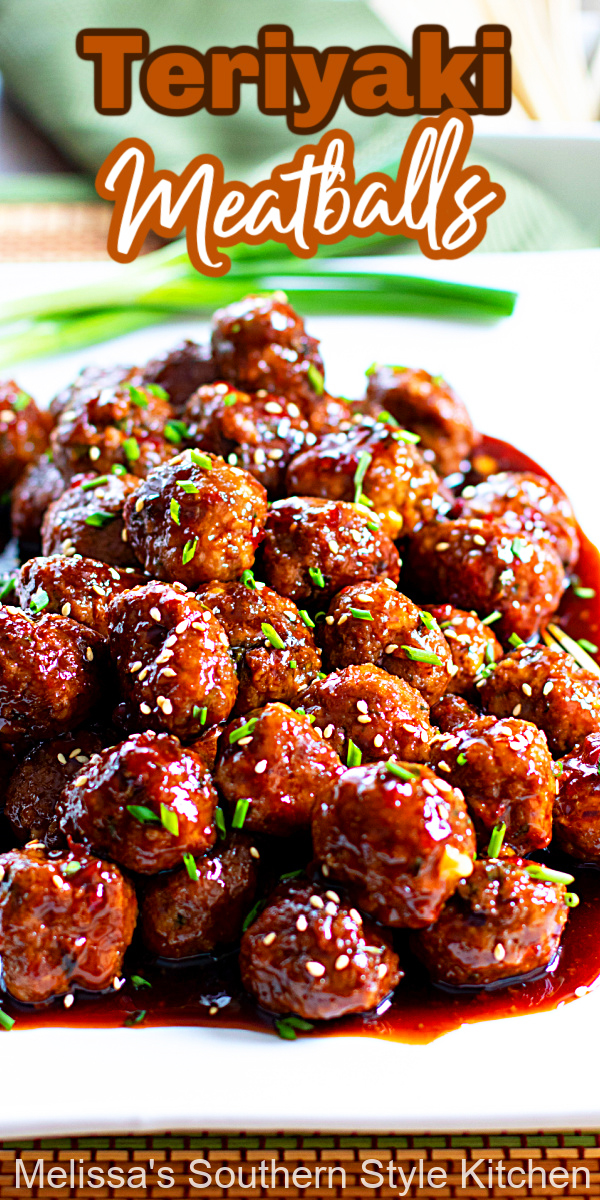 These better than takeout sweet and spicy Teriyaki Meatballs can be served as an appetizer or over rice as an entree #teriyakimeatballs #meatballrecipes #bestmeatballsrecipes #Asianfood #Asianmeatballs #teriyakisauce #appetizers #dinnerideas #dinner #tailgating #partyfood #southernrecipes #southernfood