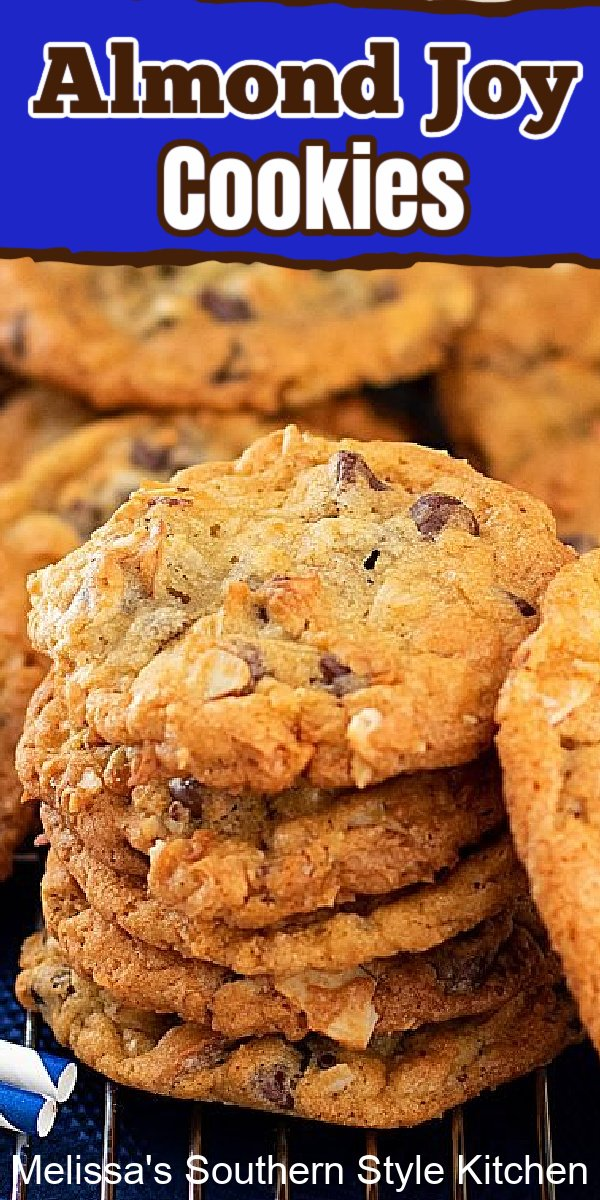 The flavors in these buttery made from scratch cookies were inspired by Almond Joy candy bars #almondjoycookies #cookies #cookierecipes #holidaybaking #christmascookies #southernrecipes #chocolatechipcookies #bestcookierecipes