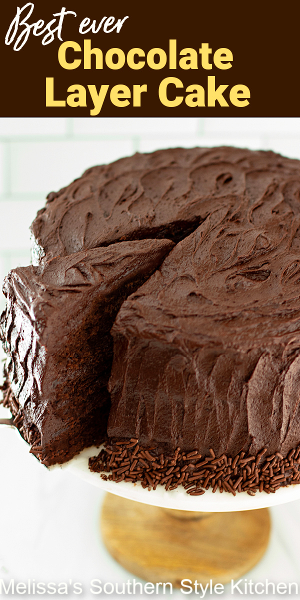 This made from scratch Best Chocolate Cake Recipe will turn any occasion into something special #chocolatecake #chocolatelayercake #chocolatefrostingrecipe #bestchocolatecake #cakerecipes #sourcreamfrosting #southerndesserts #desserts #dessertfoodrecipes #birthdaycake
