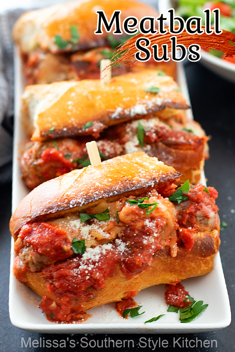 These Meatball Subs are ideal for casual meals and game day snacking #meatballsubs #meatballs #Italiansubs #easygroundbeefrecipes #dinner #snackrecipes #subs #frenchbread #southernrecipes