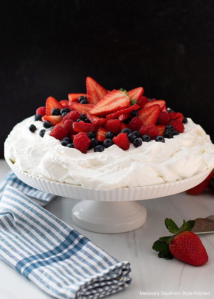 Mixed Berry Pavlova with whipped cream