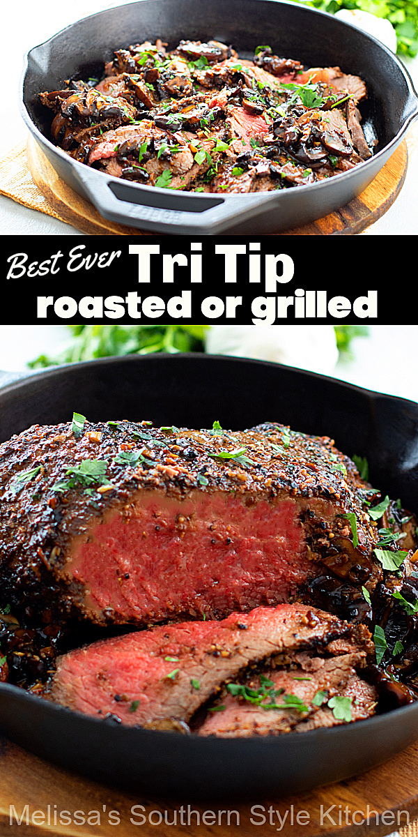 This perfectly seasoned Tri Tip recipe is a delectable option whether you choose to roast it in the oven or sear it on the grill #tritiprecipe #easybeefrecipes #tritipsteak #tritiproast #dinnerideas #supper #southernrecipes