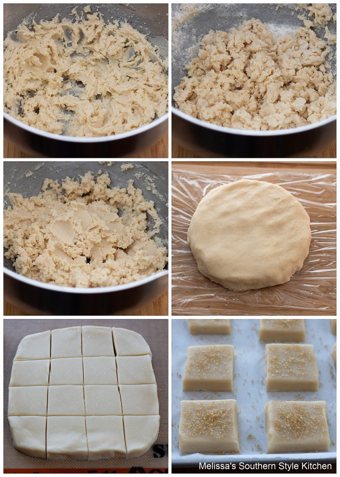 step-by-step preparaion images and ingredients for shortbread