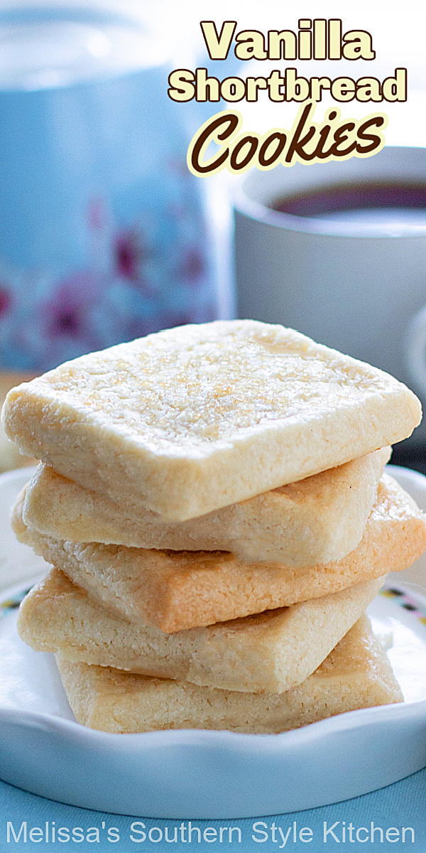 These buttery Vanilla Shortbread Cookies make the ideal sidekick for a cup of hot tea or coffee #vanillashortbread #shortbreadcookies #scottishshortbread #easyshortbreadrecipes #sugarcookies #shortbread #desserts #dessertfoodrecipes #southernfood #southernrecipes #holidaybaking #teatime