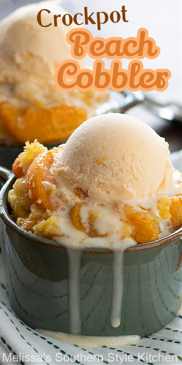 Enjoy a heaping helping of this Crockpot Peach Cobbler with a big scoop of vanilla ice cream for a warm and cozy dessert #peachcobbler #cobblerrecipes #peaches #peachdesserts #crockpotpeachcobbler #slowcookedpeachcobbler #crockpotrecipes #cakemixhack #desserts #dessertfoodrecipes #southernfood #southernrecipes