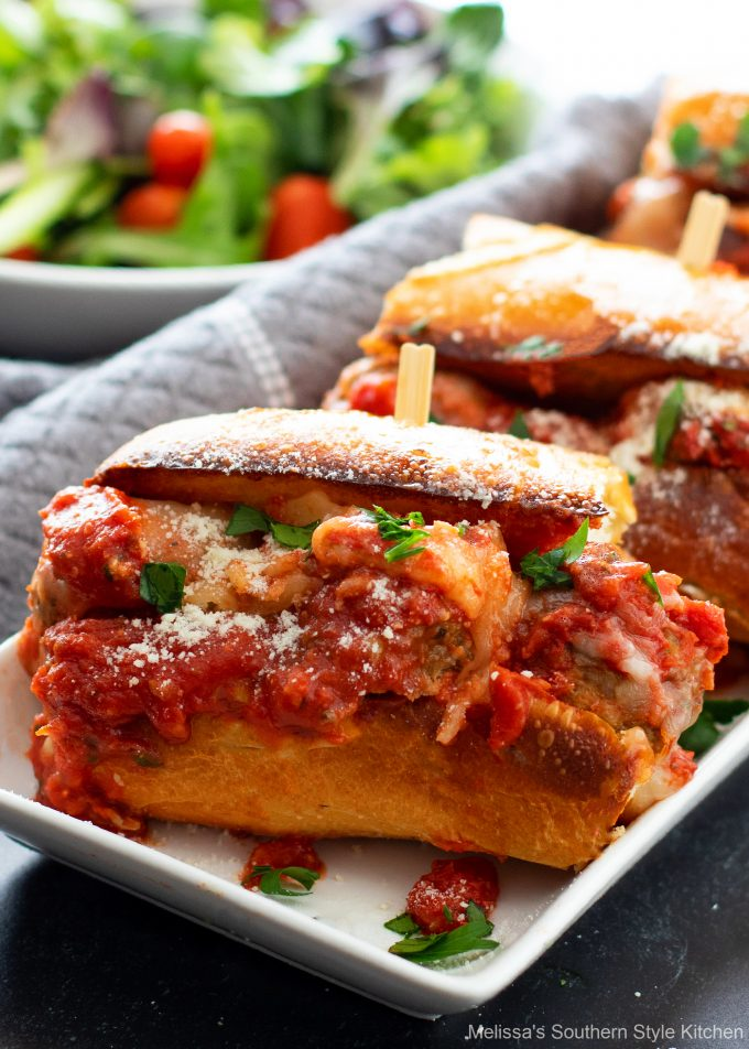Meatball Subs with a salad