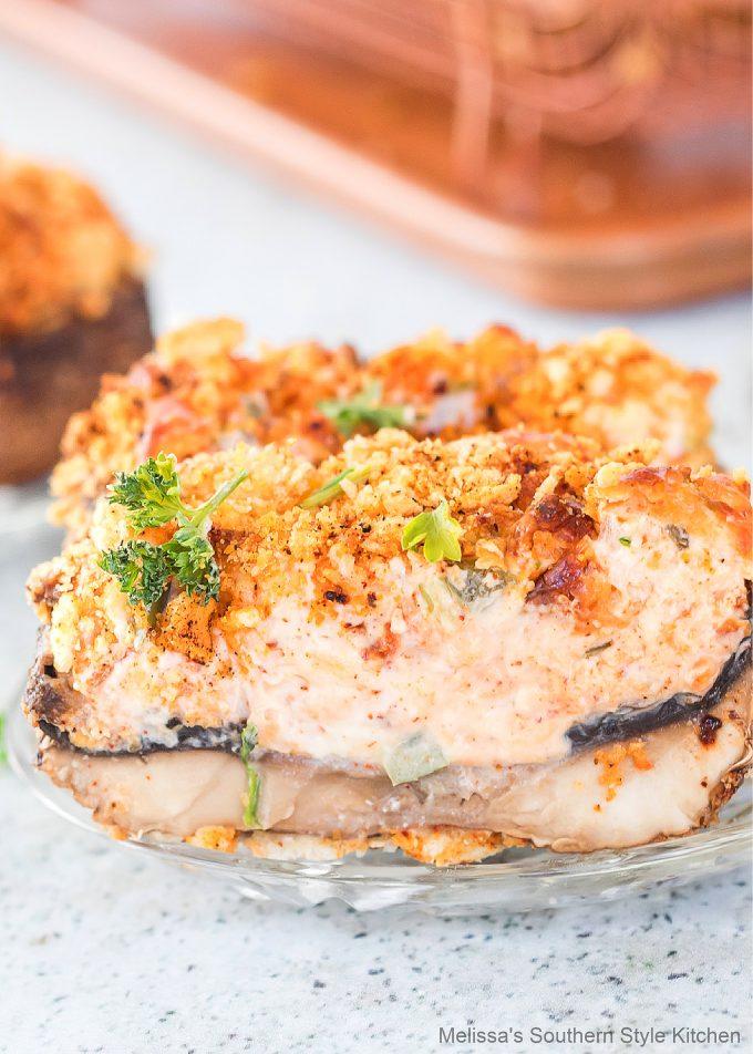 Air Fryer Jalapeno Popper Stuffed Mushrooms on a plate