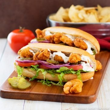 shrimp po'boys on a French roll
