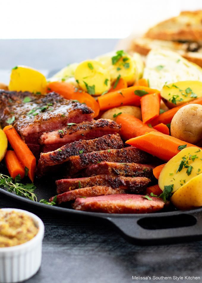 baked Corned Beef and Cabbage with carrots and potatoes