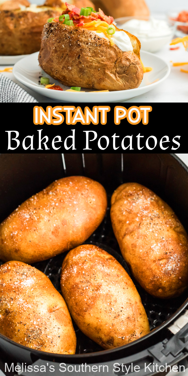 These Air Fryer Baked Potatoes are creamy and fluffy on the inside with a crisp seasoned skin, making them the ideal side dish for any entree #airfryerbakedpotatoes #airfryerrecipes #airfryerpotatoes #bakedpotatoes #loadedbakedpotatoes #sidedishrecipes #southernrecipes #potatoes