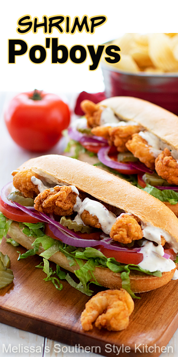 Enjoy these incredible shrimp Po'boys for a taste of New Orleans at home #shrimprecipes #shrimppoboys #seafoodrecipes #friedshrimp #sandwiches #subs #southernrecipes #dinnerideas #dinner