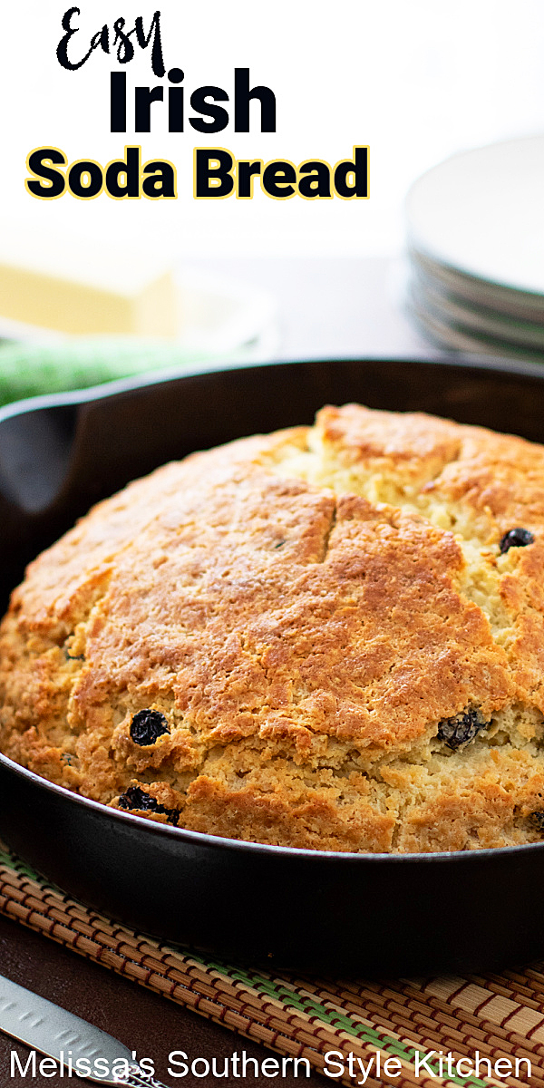Enjoy a loaf of freshly baked Irish Soda Bread with soup, stew or corned beef and cabbage for St Patrick's Day #sodabread #irishsodabread #breadrecipes #easysodabreadrecipe #stpatricksday #southernrecipes #bread