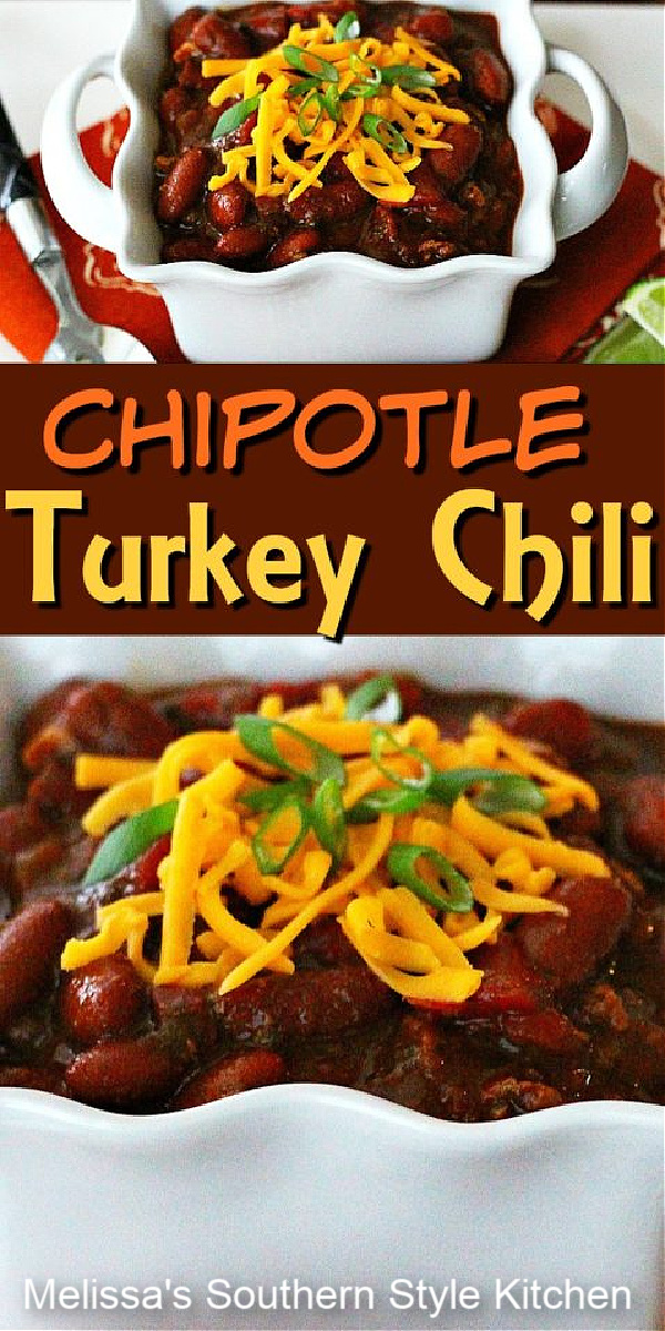 Top with your favorite chili fixins' and this Best Chipotle Turkey Chili recipe is sure to bring the heat to meal time #turkey chili #turkeyrecipes #groundturkeyrecipes #bestchilirecipes #turkey #healthychili #southernrecipes #dinner #dinnerideas