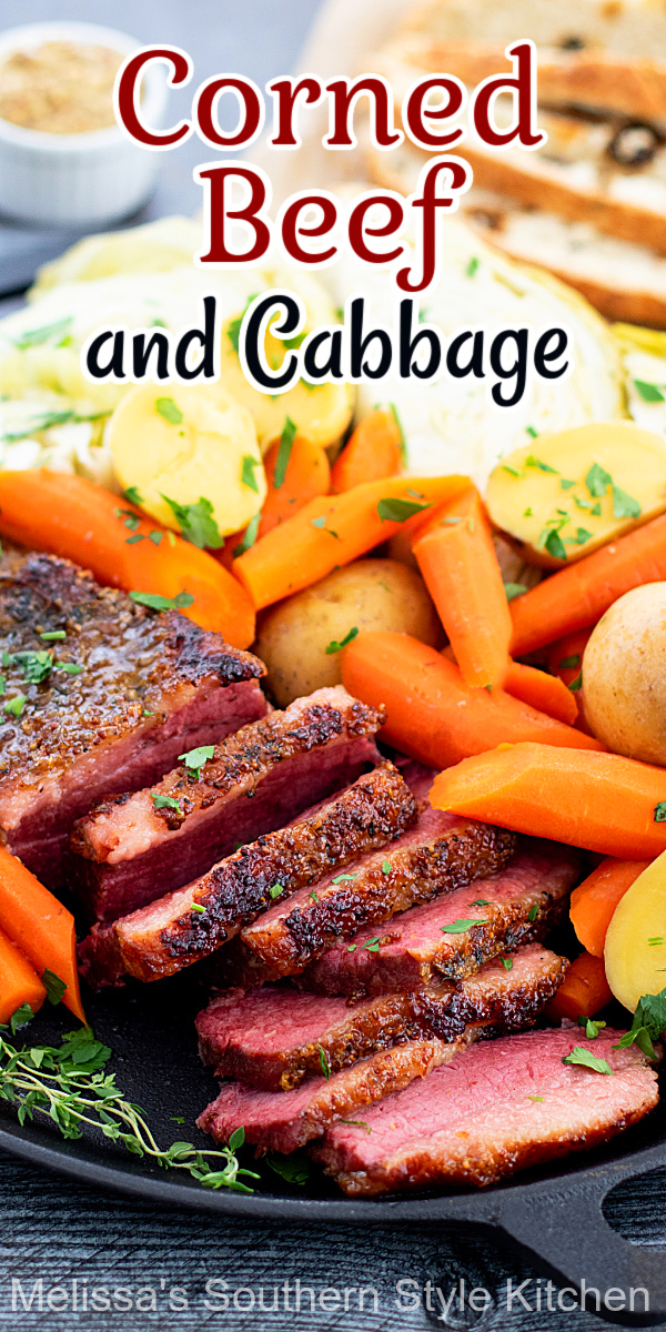 Make this mouthwatering Corned Beef and Cabbage with carrots and potatoes to complete your St Patrick's Day meal #cornedbeef #cornedbeefandcabbage #StPatricksDay #beef #beefbrisket #southernrecipes #cabbage #cornedbeefandcabbage