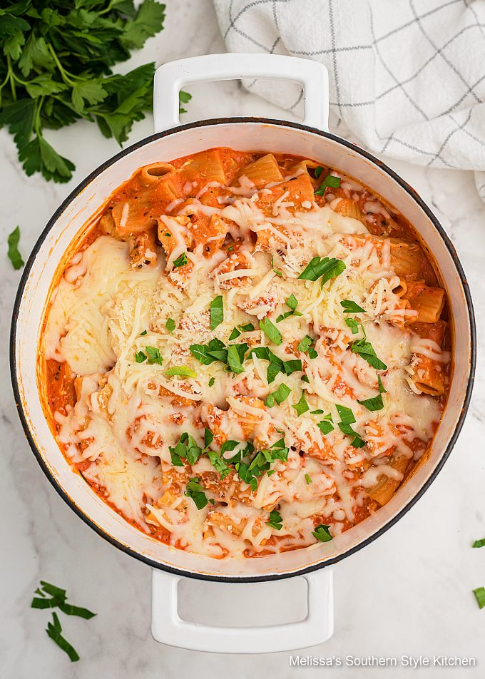 One Pot Creamy Parmesan Chicken Pasta