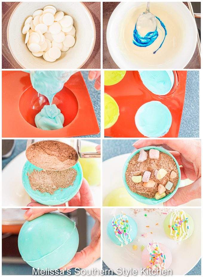 step by step instructions for making Spring Hot Chocolate Bombs