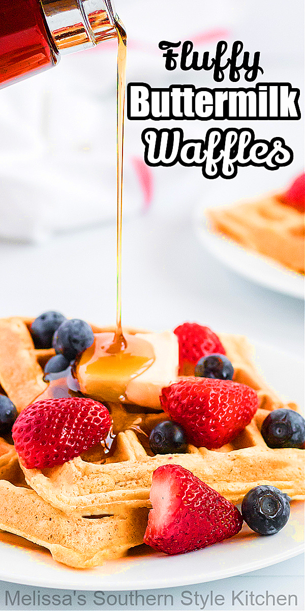 These Fluffy Buttermilk Waffles drizzled with maple syrup and a side of fresh berries will create a delicious start to the day #waffles #bestwaffles #brunch #desserts #breakfast #buttermilkwaffles #southernrecipes #holidaybrunch