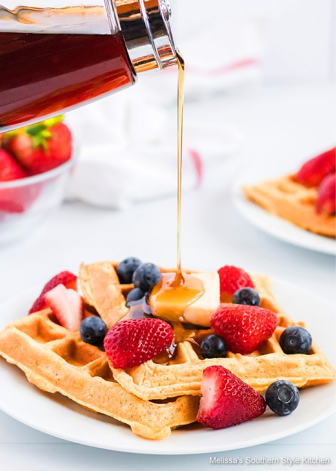 Fluffy Buttermilk Waffles on a white plate