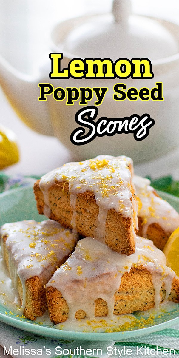 Add these irresistible Lemon Poppy Seed Scones to your brunch menu slathered with blueberry preserves, lemon curd or whipped cream #lemonpoppyseedscones #lemonscones #sconesrecipes #brunch #breakfast #breads