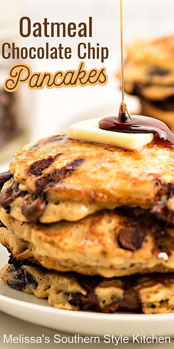 Enjoy a stack of homemade Oatmeal Chocolate Chip Pancakes topped with butter and a drizzle of syrup to kick start your day #oatmealpanckaes #pancakerecipes #oatmealchocolatechip #chocolatechippancakes #oatmealchocolatechippanckes #brunch #breakfast #southernrecipes