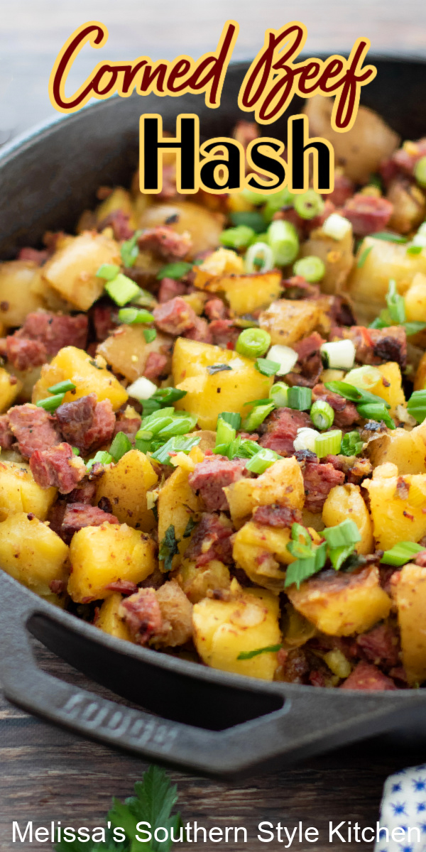 From breakfast to dinner, Corned Beef Hash is a lip smackin' diner favorite #cornedbeefhash #cornedbeefrecipes #breakfast #brunch #eggs #stpatricksdayrecipes #stpaddys
