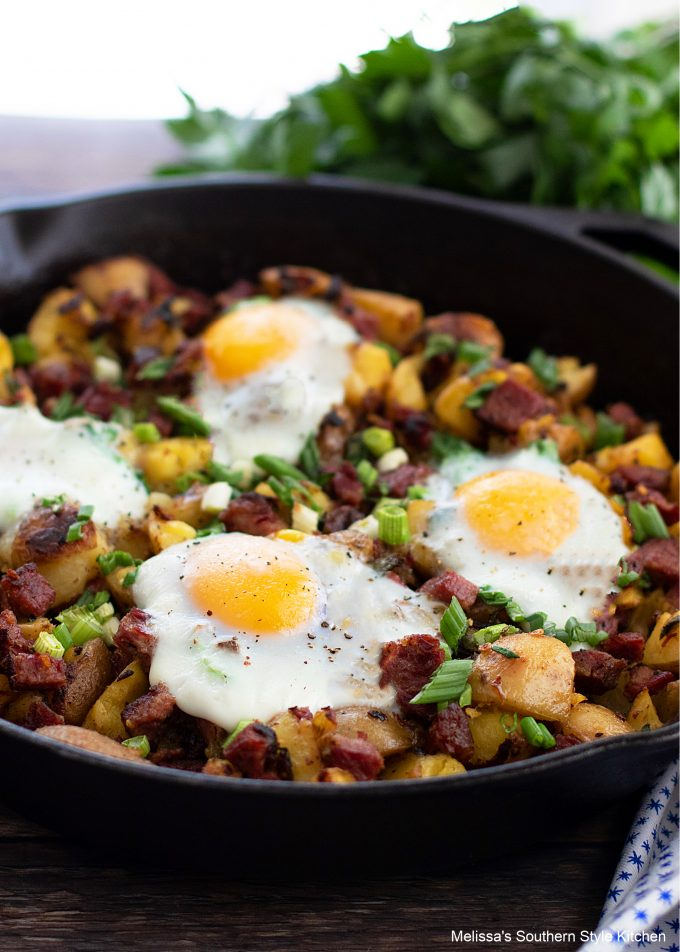 Corned Beef Hash made in a cast iron skillet