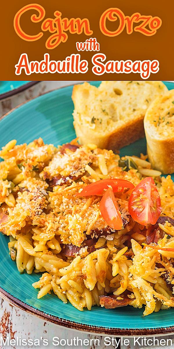 Cajun Orzo with Andouille Sausage makes a scrumptious busy day meal #cajunorzo #andouillesdausage #pastarecipes #orzo #dinnerideas #easyrecipes #Cajun #southernrecipes