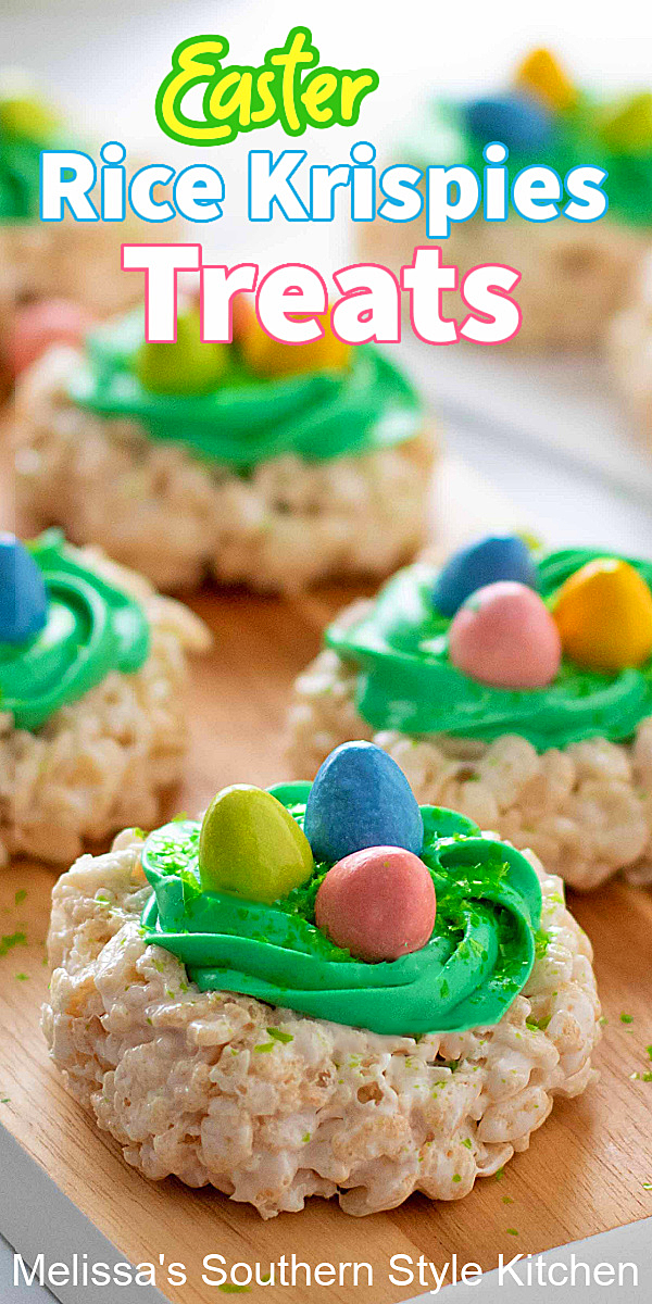 Kids of all ages will love these cute little Easter Rice Krispies Treats #easterdesserts #easterricekrispiestreats #eastercandy #ricekrispiestreats #easternests #ricekrispiestreatsnests