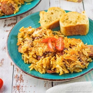 easy recipe for Cajun Orzo with Andouille Sausage