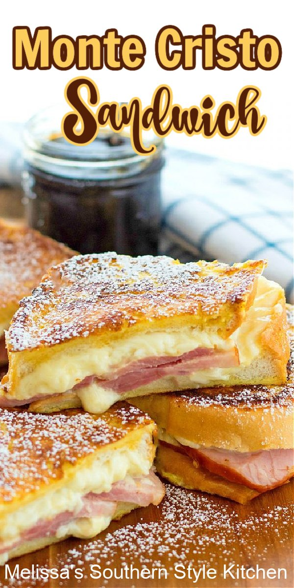 You're certain to take your sandwich menu up a notch when you serve a crispy golden Monte Cristo Sandwich for any meal #montecristo #sandwiches #sandwichrecipes #hamandcheese #brunch #breakfastrecipes #lunchideas #dinner #southernrecipes