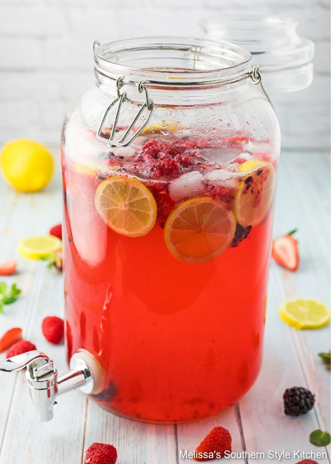 Sparkling Berry Lemonade made with strawberries
