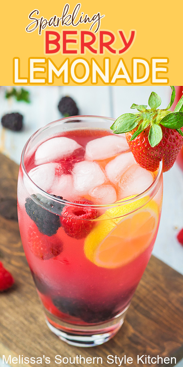 Cool down in style on a hot day with a tall glass of chilled Sparkling Berry Lemonade garnished with berries or a sprig of mint. #lemonade #sparklinglemonade #berrylemonade #lemonaderecipes #strawberrylemonade #nonalcoholicdrinks #familyfriendlydrinks #southernrecipes
