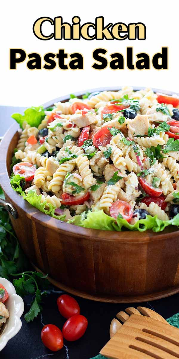 This Chicken Pasta Salad is filled with grilled chicken, chevre cheese and rotini pasta making it ideal for a family dinner or entertaining #pastasalad #chickenpastasalad #pastasaladrecipes #pasta #pastarecipes #grilledchicken #chickenrecipes #salads #southernrecipes