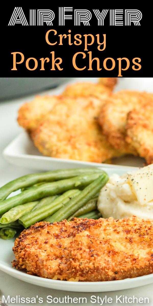 Create your own homestyle feast with these crispy Air Fryer Crispy Pork Chops #airfryerporkchops #airfryerrecipes #porkchopsrecipe #porkrecipes #airfryer #easyrecipes #southernrecipes #pork